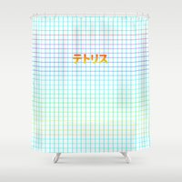 tetris Shower Curtains featuring TETRIS by SMOKESINATRA