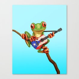 Tree Frog Playing Acoustic Guitar with Flag of Puerto Rico Canvas Print