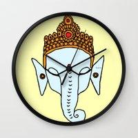 ganesha Wall Clocks featuring Ganesha by RaJess