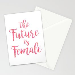 The Future is Female Quote in Pink Stationery Cards