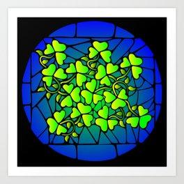 Stained Glass Shamrocks Art Print