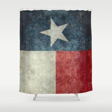 Texas state flag, Vintage banner version Shower Curtain