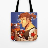 bucky barnes Tote Bags featuring Bucky by zombietonbo