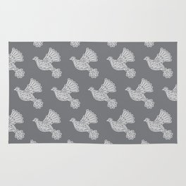 Peace, Dove, Gray and White Rug