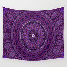 Lovely Healing Mandalas in Brilliant Colors: Purple, Raspberry, Grape, Wine, and White Wall Tapestry