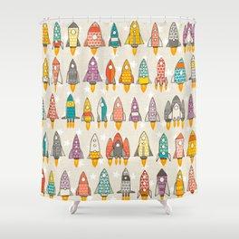 retro rockets eggshell Shower Curtain