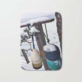 Holiday Buoys on the Snowy Coast of South Portland, Maine (2) Bath Mat