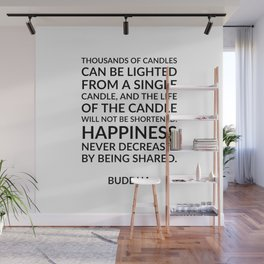 Thousands of candles - Buddha quote on happiness Wall Mural