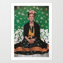 Frida Kahlo on White Bench (Nicholas Cage face swap) Art Print