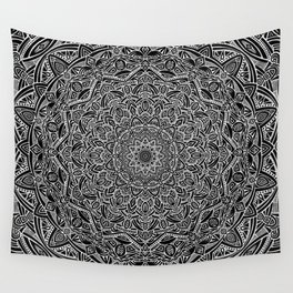 Most Detailed Mandala! Black and White Color Intricate Detail Ethnic Mandalas Zentangle Maze Pattern Wall Tapestry