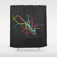 milan Shower Curtains featuring milan metro map by Live It Up