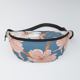 Peony garden bloom blue pink  Fanny Pack