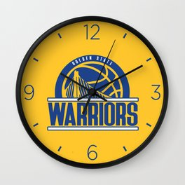 Warriors vintage basketball logo Wall Clock