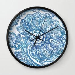 Blue Boho Paisley Pattern II Wall Clock