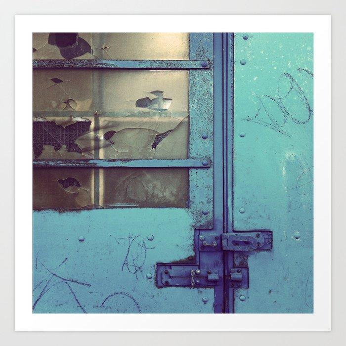 Smashed Up Garage Door Blue Art Print By Nineteeneighty Society6