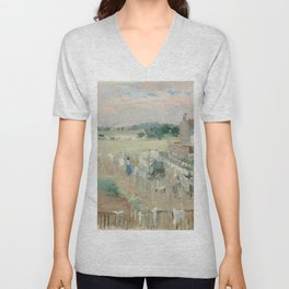 Hanging the Laundry out to Dry by Berthe Morisot Unisex V-Neck