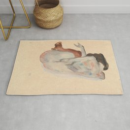 Crouching Nude in Shoes and Black Stockings, Back View - Egon Schiele Rug