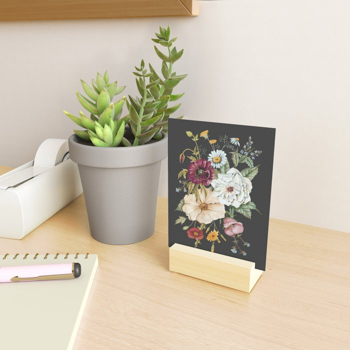 Colorful Wildflower Bouquet on Charcoal Black Mini Art Print
