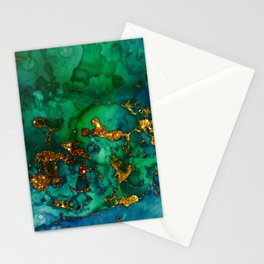 Emerald And Blue Glitter Marble Stationery Cards