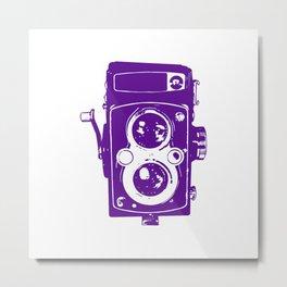 Big Vintage Camera - Purple/White Metal Print
