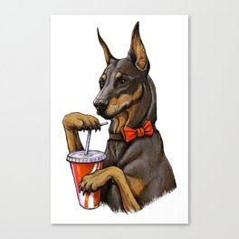 Dog with a drink. Canvas Print