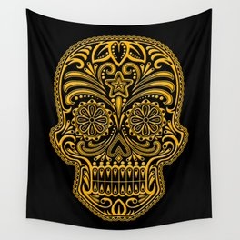 Intricate Yellow and Black Day of the Dead Sugar Skull Wall Tapestry