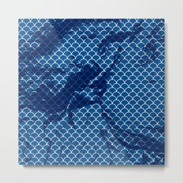 Snorkel blue small scallops with dark texture Metal Print