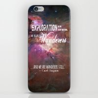 "carl sagan iPhone & iPod Skins featuring ""Exploration is in Our Nature"" Carl Sagan Quote by kishbish"
