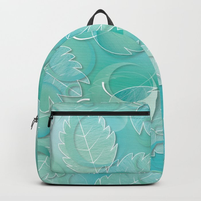 Floating Leaves Pattern IV - Winter, Ice Teal Backpack