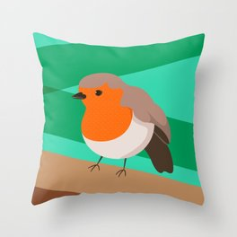 Robin Print Throw Pillow