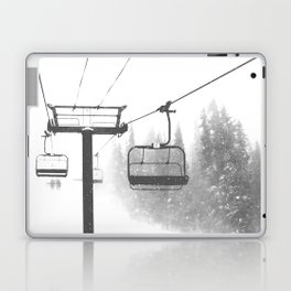 Chairlift Abyss // Black and White Chair Lift Ride to the Top Colorado Mountain Artwork Laptop & iPad Skin