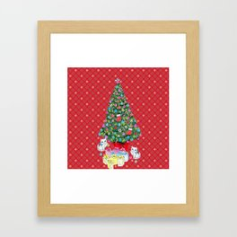 Christmas tree with cats / red tartan, plaid, kittens, holidays, christmas gift, Framed Art Print