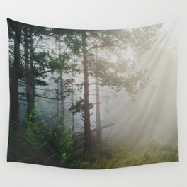 Fog in the forest Wall Tapestry