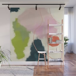sky abstract with pink & green clouds Wall Mural