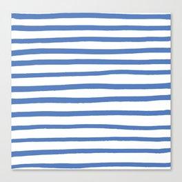 Hand drawn blue stripes Canvas Print