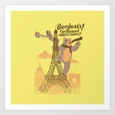 Paris King Kong Bear Eiffel Tower Art Print