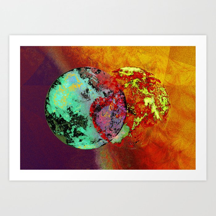old map of a foreign world far away Art Print