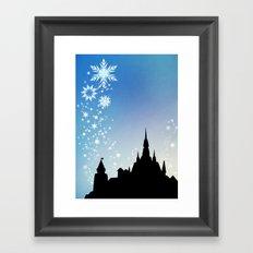 Pixar Frozen Castle with Snowflakes Framed Art Print