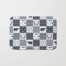 Camper antlers bears pattern minimal nursery basic navy mint grey white camping cabin chalet decor Bath Mat