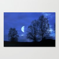 kindle Canvas Prints featuring Moon between Trees  - JUSTART © by JUSTART