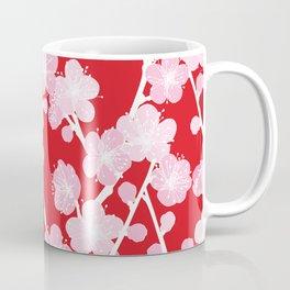 Red Cherry Blossom Pattern Coffee Mug