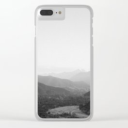 Black and white Atlas Mountains of Ourika Morocco Clear iPhone Case