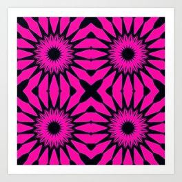 Pink & Black Flowers Art Print