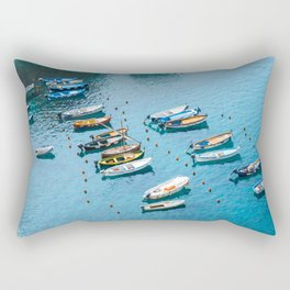 Colorful boats in the harbor of Cinque Terre, Italy | All blue | Summer has started | Italian art prints Rectangular Pillow