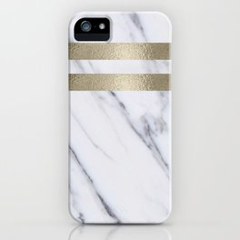 Smokey marble and gilded striped accents iPhone Case