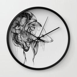 Possum Black Ink Drawing Wall Clock