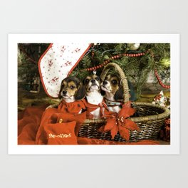 Three Tricolor Beagle Puppies in a Basket underneath a Christmas Tree Art Print