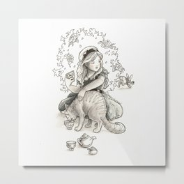 Alice has Tea with the Cheshire Cat Metal Print