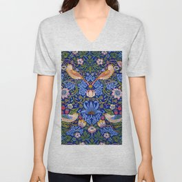"William Morris ""Strawberry Thief"" 1. Unisex V-Neck"