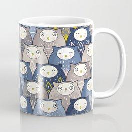 Find a cat in a parliament of owls (Art Deco Kawaii) Coffee Mug